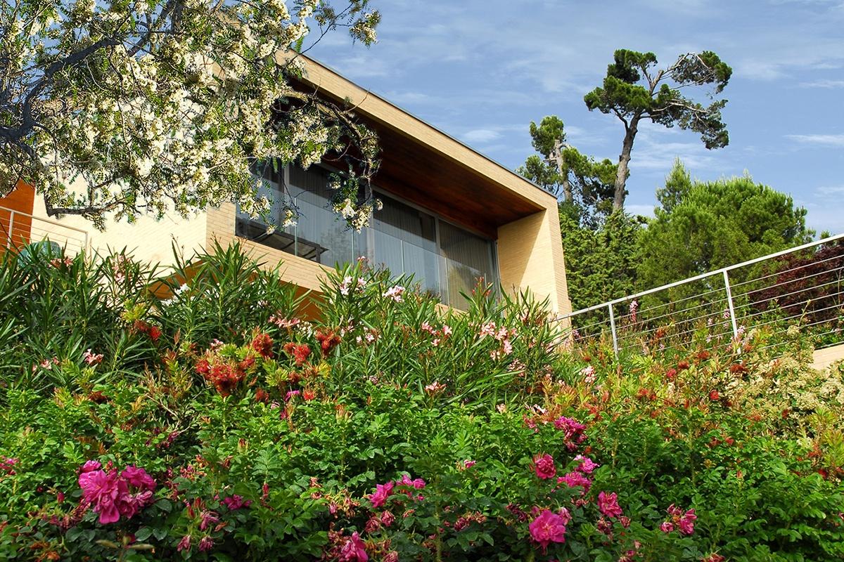 Realizzazione tetto verde in una villa moderna tra le for Giardino villa moderna