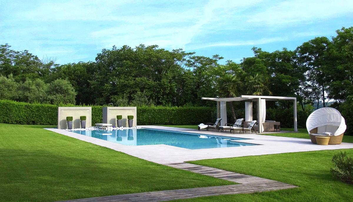 Villa in campagna con giardino e piscina minimal for Jardines modernos fotos