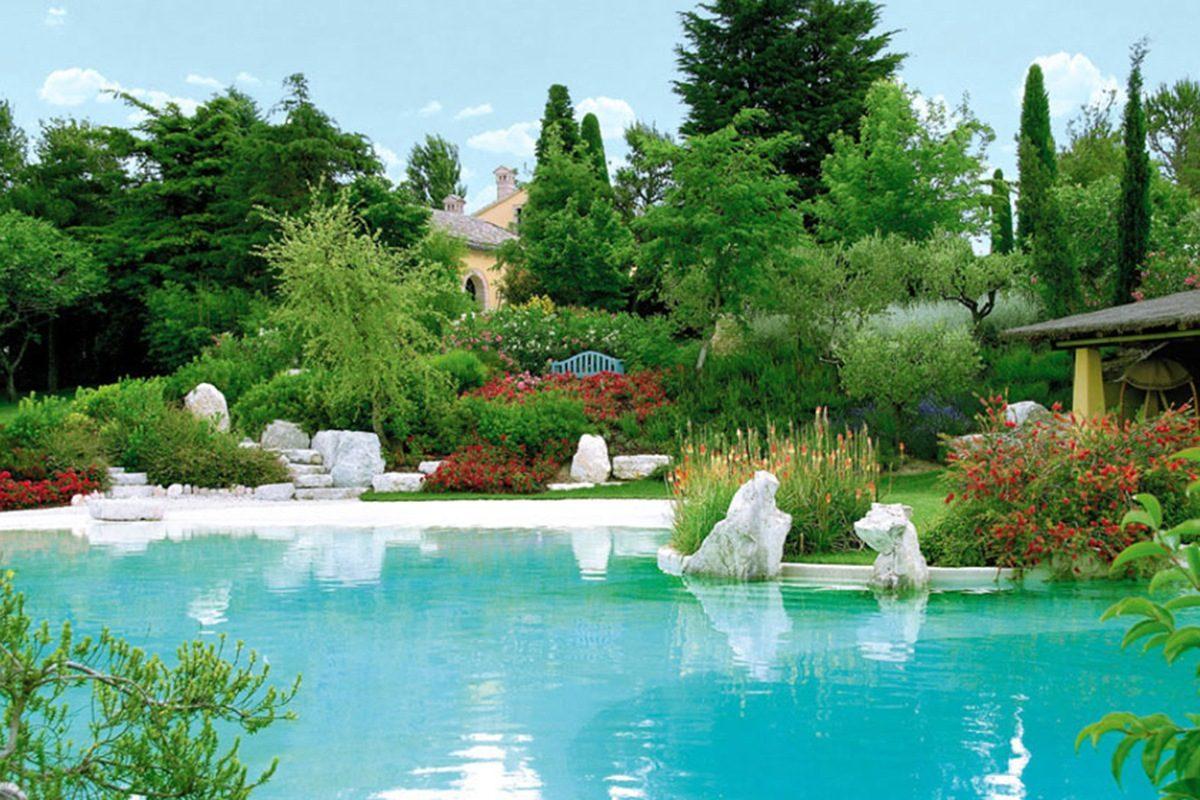 Realizzazione piscina con rocce artificiali e giardino - Rocce da giardino ...
