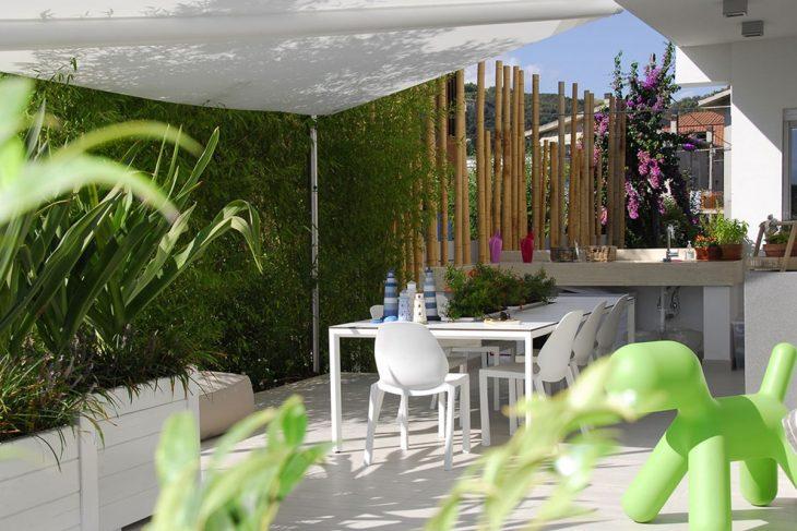 piccolo giardino,vela,vela avvolgibile,Bambù, fioriere,cucina esterna, design