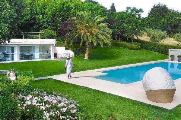 Veranda, piscina,, giardino, moderno giardino, lusso